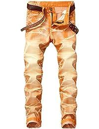 F.lashes Homme Jeans Zipper Vintage Automne Hiver Pantalon Denim Slim Fit  Délavé Bleu Casual 93e16cafe94c