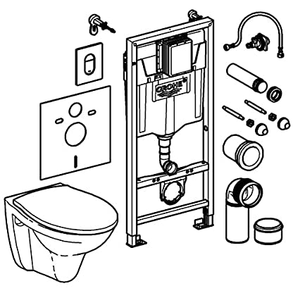 513gkiPghML. SS416  - Grohe Solido Diseño cerámica | WC-Solido 4in1con-Diseño de borde cerámica inodoro, 3-6l, 1, 13m, 39418000