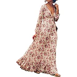 Women 's Bohemian Floral Print Long Sleeve V Neck Long Maxi Dress Plus Size Swing Pink M