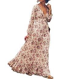 Le Donne Sono Bohemien Floreali A Maniche Lunghe Collo Lungo Vestito Taglia  Maxi Swing 854e968fee4