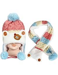 Ularma Inverno Bambini Delle Ragazze Dei Neonati Caldi Coif Lana Berretti  Sciarpe Cappelli Cappuccio f7ed58e08fce