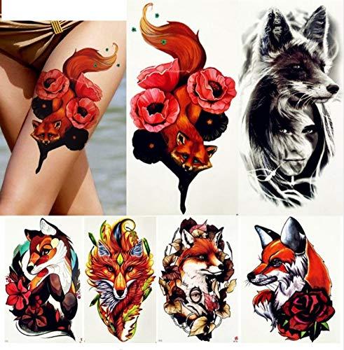 Ruofengpuzi adesivo tatuaggiored fox rose tattoo falso acquarello tatuaggio temporaneo donna braccio gamba arte tatuaggio ragazza nero lupo stile estivo sticker