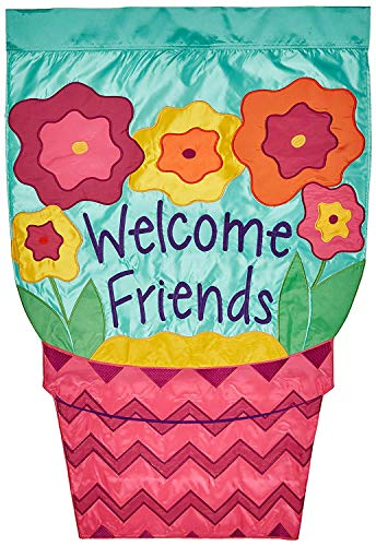 CHKWYN Home Accents Double Applique Flag, Welcome Flower Pot, Large for Party Outdoor Home Decor Size: 28-inches W X 40-inches H Side Drape Applique