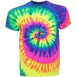 TDUK - Camiseta psicodélica modelo arcoíris de manga corta para hombre 100% Algodón- Verano Hippie (Grande (L)/Remolino de neón)