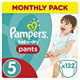 Pampers Baby-Dry Pants, 11-18 kg, 132 Nappy Pants, Monthly Pack - Size 5