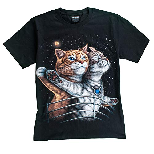 T-Shirt 3D Glow IN Dark Tier Mann Unisex (Small, Cat5 Titanic (with Blue Heart Necklace))
