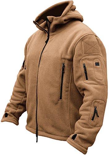 TACVASEN Herren Fleecejacke Military Outdoor Winddichte Jacke mit Kapuze- Gr. L, Sand