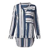 CICIYONER Damen Hemd Top Stripe Langarm V-Ausschnitt Lässiges T-Shirt Top Bluse
