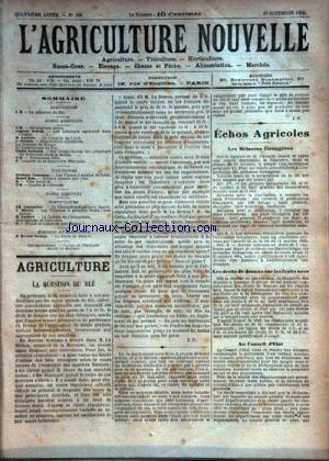 AGRICULTURE NOUVELLE (L') [No 186] du 10/11/1894 - AGRICULTURE PAR SERVIN - LATIERE - TROUDE - SAILLARD - VITICULTURE PAR COUANON - BLIN - HORTICULTURE PAR COUTURIER - MOTTET - MATIERE - ELEVAGE PAR GEORGE