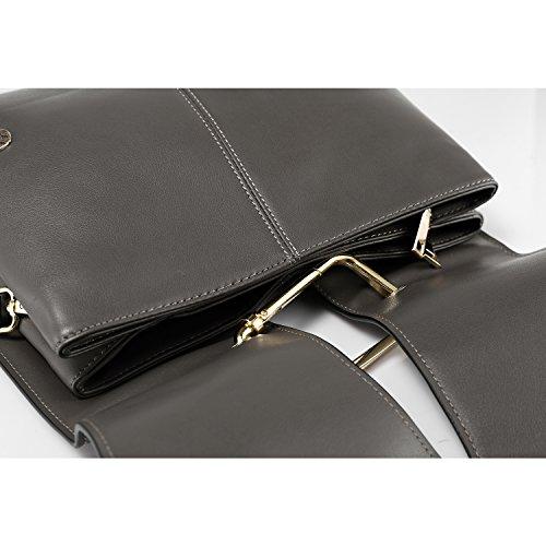 LOVEVOOK doppia cerniera borse della borsa a tracolla delle donne Vino rosso