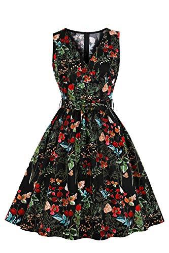 MisShow Robe Femme Courte pour Cérémonie Imprimée à Fleurs Chic Elégante Col en V Robe Femme Vintage année 50s Pin up Noir L