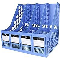 Delicacydex TIANSE TS-1303 Large Capacity Super Thick 4 Divisor de sección de documento de Archivo Rack Home Office Desktop Plastic Bookshelf