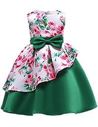 IPBEN Vestidos de Flores de niña,Vestido Vintage Estampado de Niñas Años Cóctel Vestido Algodón