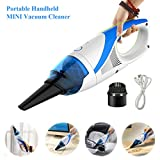 Fine Dragon Handheld Mini Cleaner Vacuum USB Rechargeable Cordless Bagless VAC Portable Mini Auto Handy Car Hoover Low Noise with Replaceable brush Strong Absorption (1400 PA) - Blue