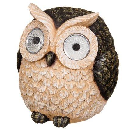 Merveilleux Brown Color Garden Owl With Solar Light Eyes