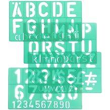 Linex G8550 - Plantilla estándar de números, letras y símbolos (50 mm, juego de 4 unidades), color verde