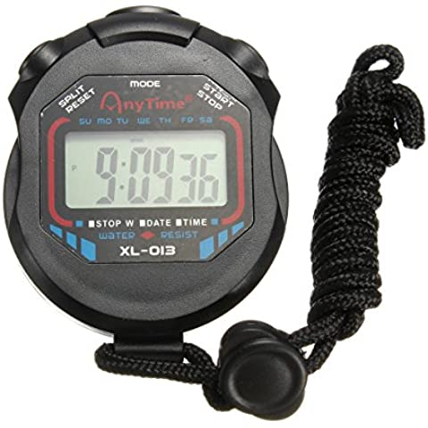 OUTERDO Sport Cronometro digitale a cristalli liquidi portatile del cronografo Contatore timer Cronometro