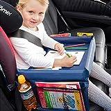 TRI Auto-Kindertisch, Reisetisch Maltisch Knietablett fürs Auto mit 4 Netztaschen, Tischfläche 40 x 26 x 4,5 cm