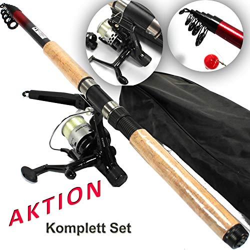 Starter Forellen ANGELSET 1x Teleskoprute 1x Angelrolle + Pose + Blei + Wirbel mit hochwertiger Transporttasche ü5ü 529