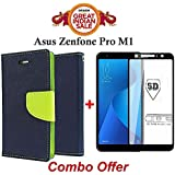 Faadu Engineer ® Asus ZenFone Max Pro M1 Flip Cover Case COMBO OFFER Stylish Luxury Mercury Magnetic Lock Diary Wallet Style Flip Cover Case (Blue) + 5D 9H Hardness Tempered Glass Screen Protector (Black)