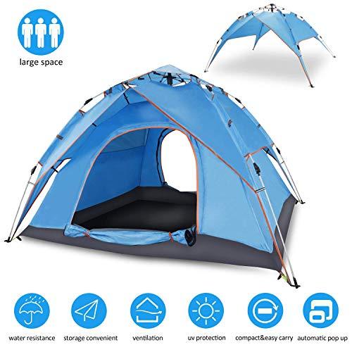 GOODEN Goodden Automatisches Hydraulisches Doppeldecker-Zelt geeignet für Strand Camping Reisen Wigwam 4 Personen Zelt, blau