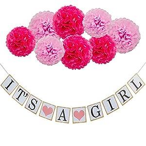 thematys Its a Girl   Boy Deko Girlande - perfekt als Dekoration für Babyparty - Deko-Set für Junge & Mädchen mit Pompoms in rosa und blau