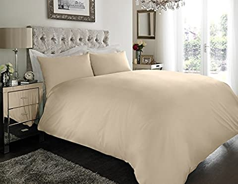 Sapphire collection 100% Egyptian Cotton 200 Thread Count Duvet Cover With Pillow Case Bedding Set All Size (Single, Cream)
