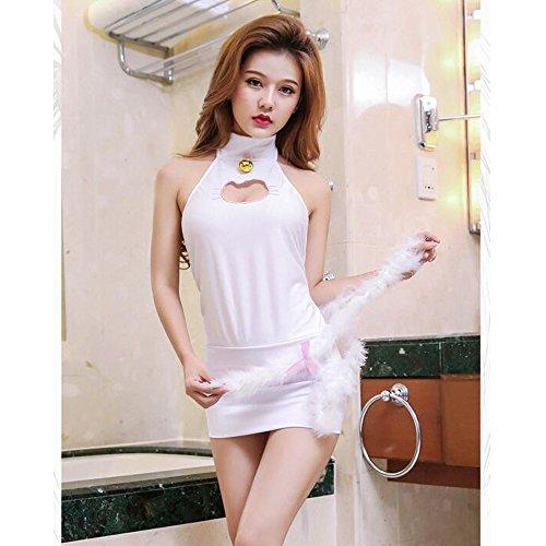 Liu Sensen Frauen Dessous Sexy Maid Uniform Outfits Katze Frau Katze Mädchen mit Schwanz Cosplay Unterwäsche Sets Weiß Schwarz Skinny Kleid Bodys,White
