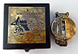 : Maritime Antiquitäten Kompass mit Holzbox. c-3042F