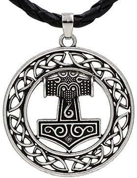 Viking Wikinger Kreis Thorhammer Thor Hammer Anhänger Kette Antikes Silber
