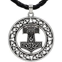 Viking Hiddensee Tono Plata Colgante Collar de Cuero con