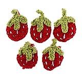 Descripción:               - Apliques de crochet hechos a mano, lindos diseños de fresa. - Paquete de 5, accesorios de ropa útiles para suéter, abrigo, sombrero, adorno de bolsa, etc. - Perfecto para hacer pinzas para el cabel...