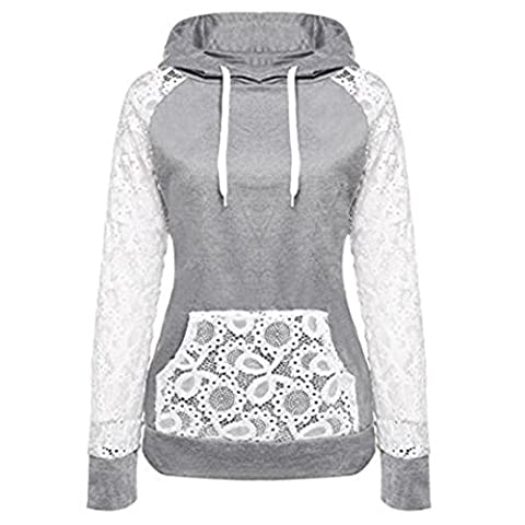 Bluestercool Femmes Dentelle Patchwork Sweat-shirt à capuche Pull-over Hoodie Tops (M, Gris)