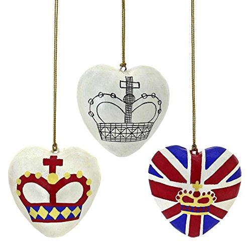 (Pappmaché Hängende Dekoration Set 3 Patriotischen Herzen Ornamente)