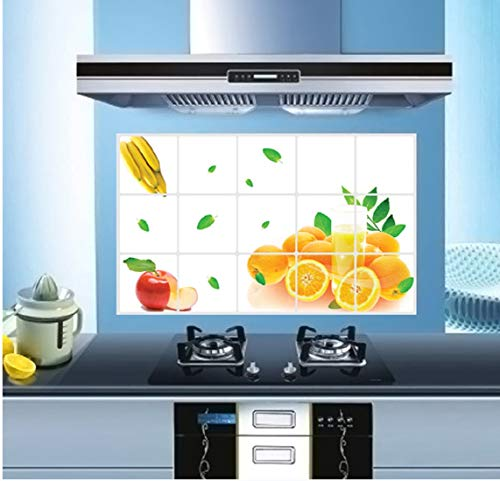 Jaamso Royals Removable Kitchen Oil Proof Decal Sticker Heat-Resistant Waterproof Tile Sticker Aluminium Foil Wall Sticker (Fruits) (45 cm x 75 cm, 3028_JR08)