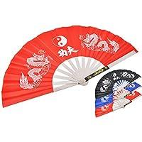 ShenLong Abánico Tai Chi Wushu, Metal - Rojo imprimido