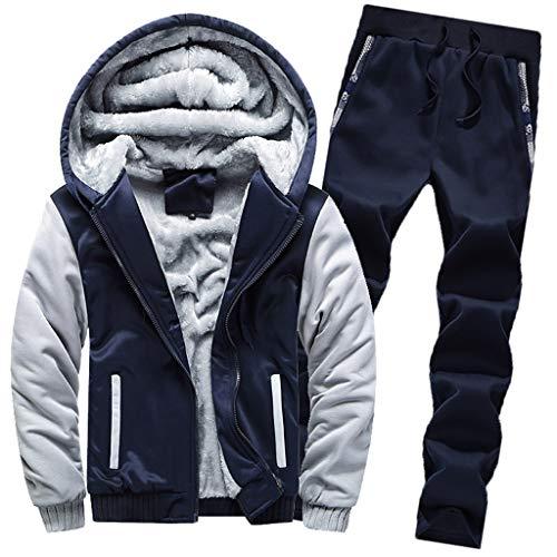 Conjunto de chándal para Hombre, para Hombre Chándal Warm Fleece Sport  Hooded Sweatshirt Coat 93c998759b