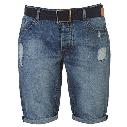 SoulCal Herren Shorts Mit Guertel Denim Kurze Hose Jeanshose Zerrissen Jeans Mid Waschung Extra Lge (Plus Size Jeans-shorts)
