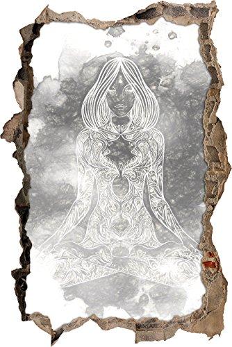 Lotoshaltung Yoga Kunst Kohle Effekt Wanddurchbruch im 3D-Look, Wand- oder Türaufkleber Format: 92x62cm, Wandsticker, Wandtattoo, Wanddekoration