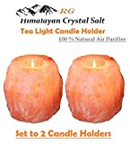 #6: RG 100 % Natural Air Purifying Hand carved Himalayan Rock Salt Tealight Candle Holder - 2 Pack