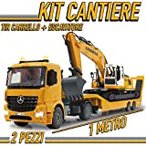 MGidea Kit Cantiere Escavatore LIEBHERR RUSPA R936 Benna + Camion CARRELLONE TIR Mercedes Trasporto AROCS Mezzo Cantiere