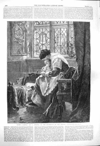 Art 1865 Faisant Le Coin de Wyburd de Petite Fille de la Mère des Bébés [Cuisine et Maison] par original old antique victorian print