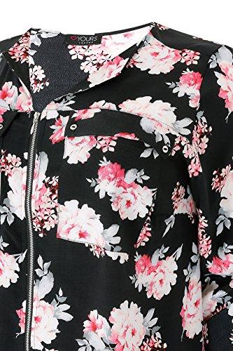 Yours Clothing - Chemisier - À Fleurs - Col Chemise Italien - Manches Longues - Femme Noir
