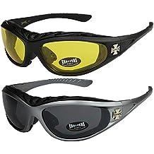 Choppers - Pack de 2 gafas de sol con acolchado en negro, antracita, plata