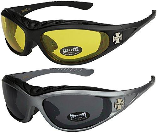 X-CRUZE 2er Pack Choppers 911 Sonnenbrillen Motorradbrille Sportbrille Radbrille - 1x Modell 03 (schwarz/gelb getönt) und 1x Modell 07 (anthrazit/schwarz getönt) - Modell 03 + 07 -