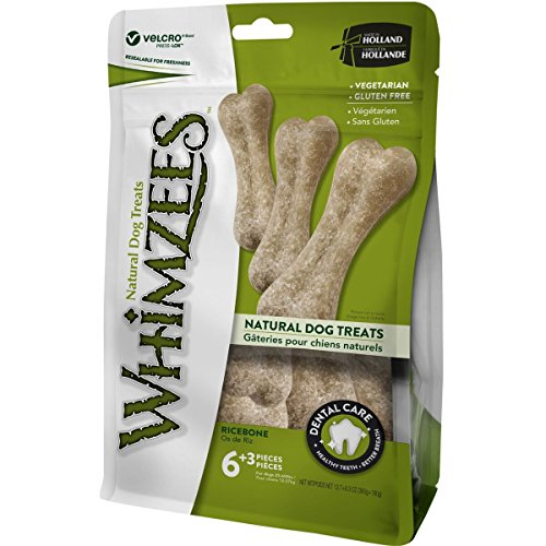 WHIMZEES Natürliche Getreidefreie Zahnpflegesnacks, Kaustangen für Hunde, Reisknochen L, 9 Stück à 60 g