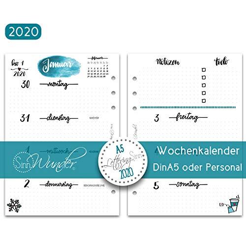 SinnWunder® 2020 Premium-Kalendereinlagen - Wochenplan mit 1 Woche auf 2 Seiten - LetteringSinn - Din A5