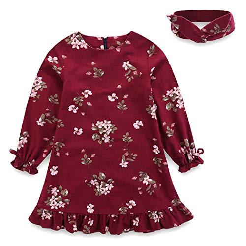 n Kinder Retro Blume Kleid Rüschen Geburtstag Kleid Stirnband 6M-12Jahren Size 2T (rot) ()