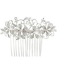 EVER FAITH® - Cristal Austriaco Art Deco Flor Novia Pelo Peine de Pelo Peineta Plata-Tono N03795-1