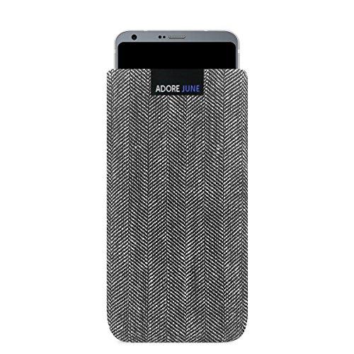 """Adore June LG G6 Hülle """"Business"""" aus charakteristischem Material. Elegante Handytasche aus Fischgrat-Stoff mit Display-Reinigungseffekt. Hochwertige Tasche für LG G6 als treuer Begleiter."""
